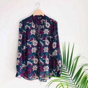Kut from the Kloth Floral Sheer Button Down Blouse